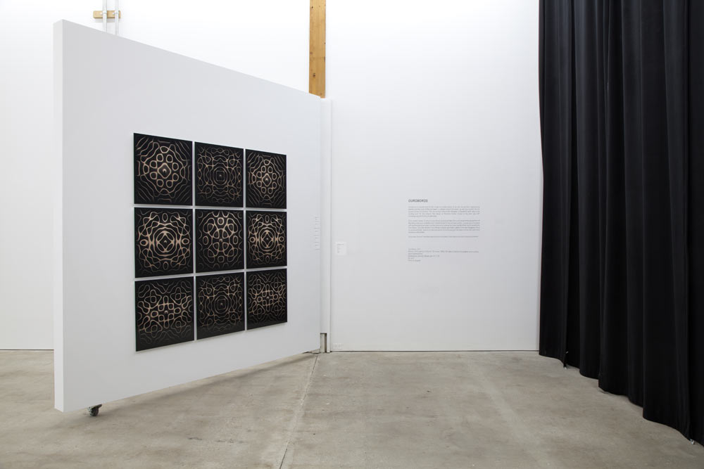 Ouroboros Wall Mosaic in 2013 Topographic Sound exhibition at dc3 Art Projects